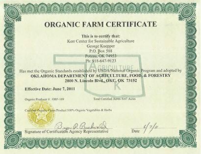 Oranic farm certificate